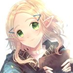 1girl absurdres black_gloves braid cocoa_kichigo commentary_request crown_braid eyebrows_visible_through_hair face fingerless_gloves gloves green_eyes hair_ornament hairclip highres holding jacket looking_at_viewer medium_hair pointy_ears princess_zelda smile solo the_legend_of_zelda the_legend_of_zelda:_breath_of_the_wild