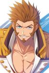 1boy beard blue_eyes brown_hair chest commentary_request epaulettes facial_hair fate/grand_order fate_(series) looking_at_viewer male_focus military military_uniform napoleon_bonaparte_(fate/grand_order) nina_(pastime) open_clothes pectorals scar simple_background smile solo teeth uniform upper_body