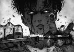 1boy black_hair bleeding blood blood_on_face highres holding holding_weapon looking_at_viewer male_focus manip parted_lips shingeki_no_kyojin simple_background solo upper_body weapon white_background