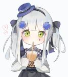 1girl bangs black_bow black_hairband black_skirt blue_headwear blush bow bubble_tea checkered checkered_bow closed_mouth collared_shirt commentary cup disposable_cup drinking drinking_straw eyebrows_visible_through_hair facial_mark girls_frontline green_eyes grey_background hair_bow hair_ornament hairband hat heart highres hk416_(girls_frontline) holding holding_cup long_hair long_sleeves meow_nyang mini_hat revision shirt silver_hair simple_background skirt sleeves_past_wrists solo tilted_headwear twintails white_shirt