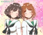 2girls akiyama_yukari bangs black_neckwear blouse blurry blurry_background blush brown_hair closed_mouth commentary confetti eyebrows_visible_through_hair girls_und_panzer head_on_head head_tilt highres katsuragi_(webmaster909) light_particles long_sleeves messy_hair multiple_girls neckerchief nishizumi_miho ooarai_school_uniform school_uniform serafuku shiny shiny_hair short_hair side-by-side smile twitter_username white_blouse yuri