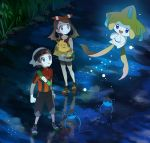 1boy 1girl bike_shorts black_pants black_shorts blue_eyes bow brown_hair clenched_hands collarbone floating_hair from_above hair_bow hairband haruka_(pokemon) hat holding holding_pokemon jacket jirachi looking_up night outdoors pants parted_lips pokemon pokemon_(creature) pokemon_(game) pokemon_rse popcorn_91 red_hairband red_jacket red_shirt reflecting_pool shirt short_shorts short_sleeves shorts shorts_under_shorts shroomish sleeveless sleeveless_shirt striped striped_bow surskit twintails white_headwear white_shorts yuuki_(pokemon)