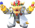 absurdres bowser bracelet dr._mario_(game) dr._mario_world formal highres jewelry pants pill red_tie redhead sharp_teeth spiked_bracelet spikes stethoscope suit teeth white_footwear white_pants white_suit
