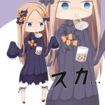 1girl abigail_williams_(fate/grand_order) bangs bendy_straw black_bow black_dress black_footwear blonde_hair bloomers blue_eyes bow bubble_tea bubble_tea_challenge bug butterfly chibi commentary cup disposable_cup dress drinking_straw empty_eyes fate/grand_order fate_(series) forehead hair_bow hands_up highres insect long_hair long_sleeves mouth_hold no_hat no_headwear orange_bow parted_bangs polka_dot polka_dot_bow purple_background shoes sleeves_past_fingers sleeves_past_wrists solo su_guryu translated two-tone_background underwear very_long_hair white_background white_bloomers zoom_layer