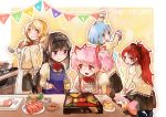 2019 5girls akemi_homura anchovy_(fish) angry apron bangs beige_shirt black_hair black_skirt blue_apron blue_eyes blue_hair blush bow bowl bowtie carrot charlotte_(madoka_magica) cheese chopsticks cooking cutting_board decorating decorations distracted drill_hair drooling eyebrows_visible_through_hair fire flag flower food green_bean hair_flower hair_ornament hair_ribbon hand_up headband herb highres holding hood hoodie jar kamaboko kaname_madoka kitchen ladle leaf leaning_back leaning_forward long_hair long_sleeves looking_at_another looking_back lotus_root mahou_shoujo_madoka_magica mason_jar messy_hair miki_sayaka mitakihara_school_uniform multicolored multicolored_eyes multiple_girls mushroom mzk0526 open_mouth osechi pink_apron pink_eyes pink_hair plate pleated_skirt polka_dot polka_dot_hoodie ponytail red_eyes ribbon sakura_kyouko saliva sauce saucer school_uniform sharp_teeth short_hair shrimp skirt smile socks squatting standing stove sushi teeth tomoe_mami tongue toothpick twin_drills twintails very_long_hair violet_eyes white_apron yellow_eyes