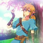 1boy absurdres belt blonde_hair blue_eyes blue_sky bracer clouds day earrings elf fingerless_gloves gloves grass highres huge_filesize hylian jewelry link long_hair looking_at_viewer male_focus nintendo nintendo_ead no_(yuki) outdoors pointy_ears ponytail sheikah_slate sky solo standing super_smash_bros. the_legend_of_zelda the_legend_of_zelda:_breath_of_the_wild tree tunic