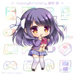 1girl :d bangs black_footwear blazer blue_skirt blush bow brown_cardigan brown_eyes cardigan character_name character_request chibi collared_shirt commentary_request diagonal_stripes dress_shirt eyebrows_visible_through_hair full_body hair_bow hands_up happy_birthday jacket knees_together_feet_apart loafers long_hair long_sleeves looking_at_viewer multicolored multicolored_polka_dots open_blazer open_clothes open_jacket open_mouth pink_bow plaid plaid_skirt pleated_skirt polka_dot polka_dot_bow purple_hair purple_jacket ryuuka_sane school_uniform shirt shoes skirt sleeves_past_wrists smile solo sparkle standing striped striped_bow thigh-highs wakaba_iro_no_quartet white_background white_bow white_legwear white_shirt