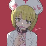1girl :p alternate_costume bangs black_collar blonde_hair blunt_bangs collar commentary cutlass_(girls_und_panzer) eyebrows_visible_through_hair frown girls_und_panzer half-closed_eyes hat head_tilt highres holding holding_syringe labcoat licking light_blush looking_at_viewer nurse nurse_cap open_mouth pink_shirt polka_dot polka_dot_shirt red_background shirt short_hair solo spiked_collar spikes syringe tongue tongue_out twitter_username upper_body v-shaped_eyebrows white_coat white_headwear yabai_gorilla yellow_eyes