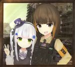 2girls absurdres american_flag armband artist_request brown_eyes brown_hair building bulletproof_vest eyebrows_visible_through_hair girls_frontline green_eyes hat highres hk416_(girls_frontline) loli m16a1_(girls_frontline) military_jacket multiple_girls no_eyepatch photo radio silver_hair tactical_clothes top_hat v younger