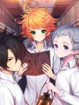 3boys ahoge black_eyes black_hair blue_eyes book commentary_request emma_(yakusoku_no_neverland) eyebrows_visible_through_hair green_eyes hair_over_one_eye highres holding holding_book holding_lamp kyundoo long_sleeves looking_at_viewer medium_hair messy_hair multiple_boys norman_(yakusoku_no_neverland) orange_hair ray_(yakusoku_no_neverland) shirt short_hair silver_hair white_shirt yakusoku_no_neverland