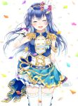 1girl absurdres arm_up bangs blue_hair blush closed_eyes commentary_request cowboy_shot epaulettes gloves hair_between_eyes hair_ornament hand_in_hair highres long_hair love_live! love_live!_school_idol_festival love_live!_school_idol_project myon_rio open_mouth petals simple_background skirt smile solo sonoda_umi standing thigh-highs white_background white_gloves white_legwear wind