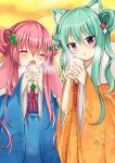 2girls animal_ear_fluff animal_ears bangs blue_kimono blush brown_kimono chestnut_mouth closed_eyes commentary_request cup disposable_cup double_bun eyebrows_visible_through_hair floral_print fur_collar green_hair hair_between_eyes hair_ornament holding holding_cup japanese_clothes kimono long_hair long_sleeves maki_soutoki multiple_girls obi open_mouth original parted_lips pink_hair print_kimono purple_ribbon red_ribbon ribbon sash side_bun sidelocks sleeves_past_wrists very_long_hair violet_eyes wide_sleeves