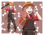 1girl belt belt_pouch boku_no_hero_academia cable cosplay engineer gloves goggles hardhat hatsume_mei helmet index_finger_raised knee_pads long_hair multiple_views open_mouth overalls pink_hair pouch simple_background single_glove smile standing symbol-shaped_pupils team_fortress_2 the_engineer the_engineer_(cosplay) wrench yellow_eyes ysd2552