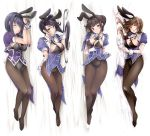 4girls :d :o absurdly_long_hair adapted_costume akatsuki_hijiri animal_ears arm_up arms_up ashigara_(kantai_collection) black_hair black_hairband black_leotard blush braided_bun breasts brown_eyes brown_hair brown_legwear bunny_tail closed_eyes closed_mouth coattails dakimakura fake_animal_ears fake_tail fang from_above gloves haguro_(kantai_collection) hair_bun hair_ornament hairband head_tilt kantai_collection large_breasts leotard long_hair looking_at_viewer lying multiple_girls myoukou_(kantai_collection) nachi_(kantai_collection) necktie on_side open_mouth pantyhose ponytail rabbit_ears remodel_(kantai_collection) shiny shiny_skin short_hair short_sleeves shrug_(clothing) side_ponytail skin_fang sleeping smile tail very_long_hair white_gloves wrist_cuffs