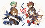 4boys :x armor blue_eyes brown_eyes brown_hair cape chibi code_geass daikon dual_wielding granblue_fantasy green_eyes green_hair half_mask holding jeremiah_gottwald knife kururugi_suzaku lancelot_(granblue_fantasy) long_hair mask medium_hair multiple_boys namesake siegfried_(granblue_fantasy) translation_request yellow_eyes youmicitrustea