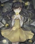 1girl absurdres bangs bow closed_eyes crying devotion dress du_meishin eyebrows_visible_through_hair facing_viewer flower hair_bow highres long_hair long_sleeves partially_submerged ruoruomi shirt sleeveless sleeveless_dress solo water white_shirt yellow_bow yellow_dress yellow_flower