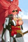 1girl baiken big_hair black_kimono breasts bubble_tea bubble_tea_challenge cowboy_shot facial_mark facial_tattoo guilty_gear guilty_gear_xrd highres japanese_clothes kataginu katana kimono large_breasts multicolored multicolored_clothes multicolored_eyes multicolored_kimono no_bra obi object_on_breast outdoors pink_hair ponytail rope sash scar scar_across_eye solo sunglasses suwaiya sword tattoo weapon white_kimono