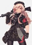 1girl ;) armband assault_rifle bangs beret black_headwear black_jacket black_legwear black_scarf black_skirt blush breasts commentary eyebrows_visible_through_hair girls_frontline grey_background gun hair_between_eyes hat headgear holding holding_gun holding_weapon jacket long_hair looking_at_viewer m4_carbine m4_sopmod_ii_(girls_frontline) mechanical_hand medium_breasts multicolored_hair one_eye_closed pantyhose persocon93 pink_hair pleated_skirt rainbow_six_siege red_eyes redhead rifle scarf sidelocks skirt sleeve_rolled_up smile solo streaked_hair thigh_strap weapon