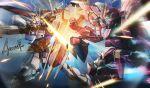 aegis_gundam aile_strike_gundam beam_saber blocking gundam gundam_seed mecha shield signature thrusters wa-kun