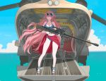 1girl aircraft anti-materiel_rifle bangs bikini blue_bikini blue_sky ch-47_chinook closed_mouth clouds cross-laced_footwear day eyewear_on_head flower full_body girls_frontline gun hair_flower hair_ornament helicopter holding holding_gun holding_weapon long_hair looking_at_viewer military military_vehicle ntw-20 ntw-20_(girls_frontline) ocean pink_eyes pink_hair rifle sandals sarong sky sniper_rifle solo standing striped striped_bikini sunglasses swimsuit tab_(tabkun) water weapon