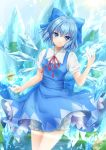 1girl artist_name bangs bloomers blue_bow blue_dress blue_eyes blue_hair blue_sky blush bow breasts chinese_commentary cirno commentary_request cowboy_shot day dress eyebrows_visible_through_hair frog frozen_frog hair_between_eyes hair_bow hand_up hei_kuang_jun highres ice ice_wings looking_at_viewer neck_ribbon outdoors pinafore_dress puffy_short_sleeves puffy_sleeves red_neckwear red_ribbon ribbon shirt short_hair short_sleeves signature sky small_breasts smile solo standing sun touhou underwear white_bloomers white_shirt wings
