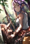 1girl blurry blurry_background bracelet brown_feathers closed_mouth day feathers forest hair_feathers highres horse jewelry kazuno_sarah looking_at_viewer looking_back love_live! love_live!_sunshine!! medium_hair nature necklace otsumami_(otsu-mugi) outdoors pink_eyes purple_hair redrop riding shirt side_ponytail sleeveless sleeveless_shirt smile solo white_shirt