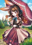 1girl animal_ears blue_ribbon blue_sky braid brown_eyes brown_hair clock clock_tower day dress holding holding_umbrella jewelry lantam long_hair looking_at_viewer original outdoors outside over_shoulder parasol rabbit rabbit_ears ribbon ring sky smile solo standing tower umbrella watch