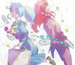 1boy 1girl 369-chan blue_hair botan_(yuu_yuu_hakusho) closed_mouth commentary_request green_eyes kurama long_hair ponytail redhead school_uniform smile yuu_yuu_hakusho