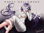 1girl :o absurdres ahoge aqua_eyes bandages breasts feet_out_of_frame gradient gradient_background halloween highres kagami_com long_hair love_live! love_live!_school_idol_project mummy_costume one_eye_covered solo toujou_nozomi twintails under_boob upper_teeth violet_eyes wrapped_up