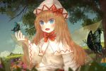 1girl arm_up blonde_hair blue_eyes blue_sky blurry bow bowtie butterfly_on_hand capelet clouds day depth_of_field dress dutch_angle ekaapetto fairy_wings flower grass hair_between_eyes hat hat_bow highres light_particles lily_white long_hair long_sleeves looking_to_the_side open_mouth outdoors red_neckwear sky solo swallowtail_butterfly touhou tree upper_body very_long_hair white_capelet white_dress white_headwear wide_sleeves wings
