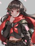 1girl aogisa bangs belt belt_buckle black_hair blunt_bangs blush breasts buckle coat eyebrows_visible_through_hair floating_clothes floating_hair flower girls_frontline green_coat grey_background hair_flower hair_flowing_over hair_ornament highres holding long_hair long_sleeves looking_at_viewer navel overcoat petals red_eyes red_ribbon red_scarf ribbon scarf school_uniform serafuku simple_background skirt smile solo stomach type_100_(girls_frontline) upper_body