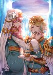 2girls artist_name belt blonde_hair blue_eyes blue_hair closed_eyes closed_mouth crown dress earrings eating feather_trim fire_emblem fire_emblem_heroes fjorm_(fire_emblem_heroes) food food_on_face from_side fur_trim gradient_hair gunnthra_(fire_emblem) jewelry long_hair long_sleeves multicolored_hair multiple_girls pink_hair short_hair siblings sisters veil wani_(fadgrith)