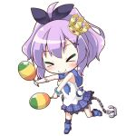 >_< 1girl anchor azur_lane bangs bare_shoulders black_legwear black_ribbon blue_footwear blush boots breasts camisole chain chibi closed_eyes closed_mouth commentary_request crown eyebrows_visible_through_hair full_body gloves hair_ribbon high_ponytail holding holding_instrument instrument javelin_(azur_lane) kneehighs maracas memorii_(memory_0w0) mini_crown music outstretched_arms plaid plaid_skirt playing_instrument pleated_skirt ponytail purple_hair purple_skirt ribbon simple_background single_glove skirt small_breasts smile solo tilted_headwear white_background white_camisole white_gloves