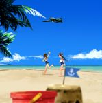 2girls aircraft aircraft_request airplane anchor_symbol annin_musou barefoot beach black_hair blue_sky blue_swimsuit blurry brown_eyes brown_hair bucket clouds commentary_request day depth_of_field flag hair_ornament hairclip headgear highres i-400_(kantai_collection) i-401_(kantai_collection) kantai_collection long_hair multiple_girls open_mouth orange_sailor_collar outdoors palm_tree ponytail running sailor_collar sand_castle sand_sculpture scenery school_swimsuit shirt short_hair short_ponytail sky sleeveless sleeveless_shirt swimsuit tan tree waving