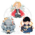 3boys alphonse_elric amestris_military_uniform animal armor artist_name automail black_coat black_hair blonde_hair braid cat chibi closed_eyes coat commentary edward_elric english_commentary expressionless fire flower frown fullmetal_alchemist gloves hair_over_one_eye hand_on_own_chest hands_together holding holding_animal holding_cat instagram_username lowres male_focus military military_uniform multiple_boys orange_cat red_coat roy_mustang simple_background too_many too_many_cats tumblr_username twitter_username uniform upper_body white_background white_cat white_flower white_gloves yuerise