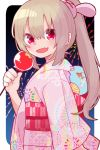 >_< 1girl :d aerial_fireworks bangs bunny_hair_ornament candy_apple commentary_request eyebrows_visible_through_hair fang fireworks food hair_between_eyes hair_ornament high_ponytail holding holding_food japanese_clothes kimono light_brown_hair long_hair long_sleeves looking_at_viewer looking_to_the_side natori_sana night night_sky obi open_mouth pink_kimono ponytail print_kimono red_eyes sana_channel sash sky smile solo unmoving_pattern upper_body virtual_youtuber wide_sleeves yagasuri yamase