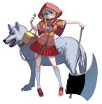 1girl animal axe bangs basket blonde_hair blue_eyes bow braid breasts breasts_apart capelet chain clover collar eyebrows_visible_through_hair four-leaf_clover full_body highres hood hood_up hooded_capelet little_red_riding_hood little_red_riding_hood_(grimm) looking_at_viewer masao medium_breasts original partially_unzipped pink_bow pleated_skirt red_capelet red_hood red_skirt rimless_eyewear round_eyewear skirt solo standing white_background wolf zipper