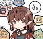 6+girls @_@ ^_^ ahoge bangs beret black_hair blonde_hair blue_hair blunt_bangs blush braid brown_eyes brown_hair closed_eyes corn earrings eating eyepatch granblue_fantasy green_eyes haaselila hair_ornament hair_ribbon hairband hairclip harvin hat heart hoop_earrings jewelry jitome long_hair looking_at_viewer lunalu_(granblue_fantasy) mahira_(granblue_fantasy) mars_symbol melissabelle milleore multiple_girls ogarasu open_mouth pointy_ears prehensile_hair ribbon sahli_lao sidelocks single_braid smile spoken_animal spoken_heart spoken_sweatdrop sweatdrop sword upper_body weapon