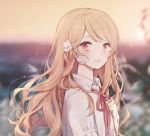 1girl bandaid_on_finger bangs blonde_hair blurry blurry_background blush bow collared_shirt depth_of_field eyebrows_visible_through_hair hair_bow hand_up long_hair looking_at_viewer looking_to_the_side moffle_(ayabi) neck_ribbon original outdoors red_eyes red_ribbon ribbon shirt short_sleeves sky solo sunset upper_body white_bow white_shirt