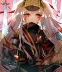 1girl altair_(re:creators) black_coat closed_mouth floating_hair gloves grey_gloves highres long_hair looking_at_viewer military_coat re:creators red_eyes shiny shiny_hair silver_hair smile solo standing upper_body user_kmpu3552 very_long_hair