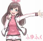 1girl a.i._channel blush eyebrows_visible_through_hair finger_to_face green_eyes hairband ina_(gokihoihoi) index_finger_raised kizuna_ai long_sleeves looking_at_viewer open_mouth outstretched_arm short_shorts shorts smile solo sweater translation_request turtleneck turtleneck_sweater upper_body upper_teeth virtual_youtuber