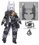 1girl absurdres animal_ears assault_rifle character_sheet commentary exoskeleton fox_ears full_body gloves gun highres load_bearing_equipment original pouch puremage rifle science_fiction short_hair silver_hair solo tail weapon white_background