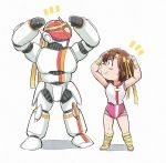 1girl brown_hair chibi exercise headband leotard mecha pose simple_background takaya_noriko top_wo_nerae! tsubobot white_background