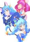 1girl ;) animal_ear_fluff animal_ears bell black_choker blue_cat blue_gloves blue_hair blue_headwear brooch cat_ears choker cure_cosmo elbow_gloves eyebrows_visible_through_hair eyewear_removed gloves green_eyes hat headwear_removed highres jewelry long_hair looking_at_viewer magical_girl mao_(star_twinkle_precure) mini_hat one_eye_closed open_mouth pink_hair pointy_ears precure shiruppo short_hair smile star star_twinkle_precure sunglasses twintails yellow_eyes