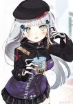 1girl bangs beret black_headwear black_skirt blurry blurry_background blush breasts bubble_tea commentary_request copyright_name cup depth_of_field disposable_cup drinking_straw eyebrows_behind_hair facial_mark floating_hair girls_frontline gloves green_eyes hair_ornament hands_up hat hk416_(girls_frontline) holding holding_cup jacket kawaii_rowa long_hair long_sleeves looking_at_viewer medium_breasts parted_lips pleated_skirt purple_jacket silver_hair skindentation skirt solo twitter_username very_long_hair white_gloves