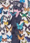 androgynous bug butterfly expressionless hands_up highres insect kino kino_no_tabi kuroboshi_kouhaku pouch solo standing