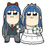 :3 bkub blue_eyes blue_hair blush_stickers bouquet bow bridal_veil bride commentary_request dress dual_persona flower formal groom hair_bow kaji_yuuki long_hair pipimi poptepipic seiyuu_connection suit takeshobo taketatsu_ayana tiara tuxedo veil wedding wedding_dress what white_background yuri