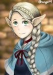 absurdres blue_capelet blue_dress bow braid capelet dress dungeon_meshi green_eyes highres kirby813 looking_at_viewer marcille platinum_blonde_hair pointy_ears red_bow red_neckwear smile