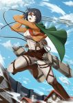 1girl black_eyes black_hair blue_sky boots breasts cape clouds coat cropped_jacket green_cape highres house impossible_clothes impossible_shirt lens_flare medium_breasts mikasa_ackerman motion_lines pants red_scarf scarf shingeki_no_kyojin shirt sky solo stock-world three-dimensional_maneuver_gear wall