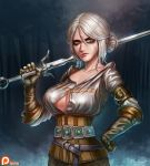 1girl badcompzero breasts ciri freckles gloves green_eyes jewelry lips long_hair looking_at_viewer makeup medium_breasts scar short_hair silver_hair solo sword the_witcher the_witcher_3 weapon